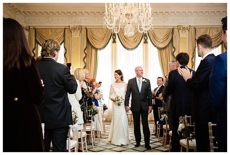 Claridge's summer wedding walking down aisle