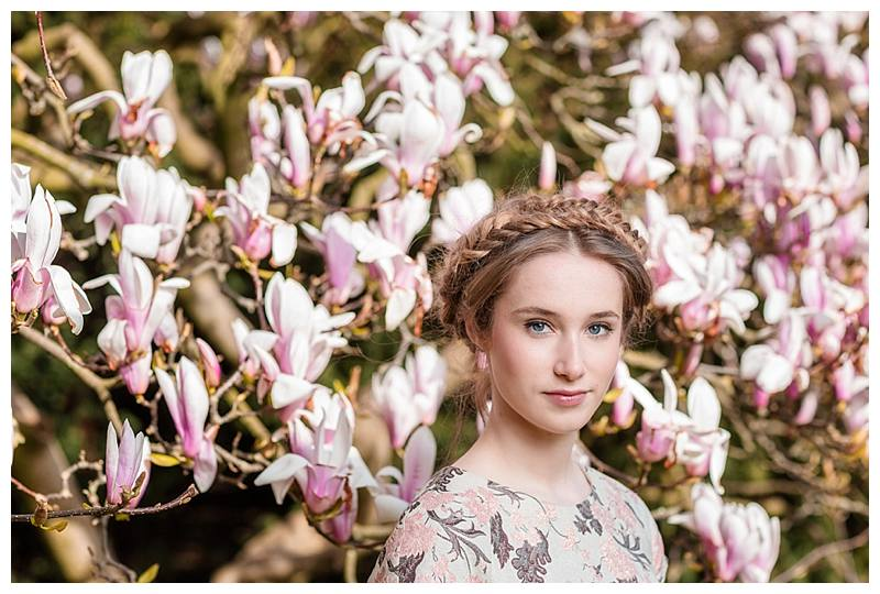 portrait photographer london girl in magnolias
