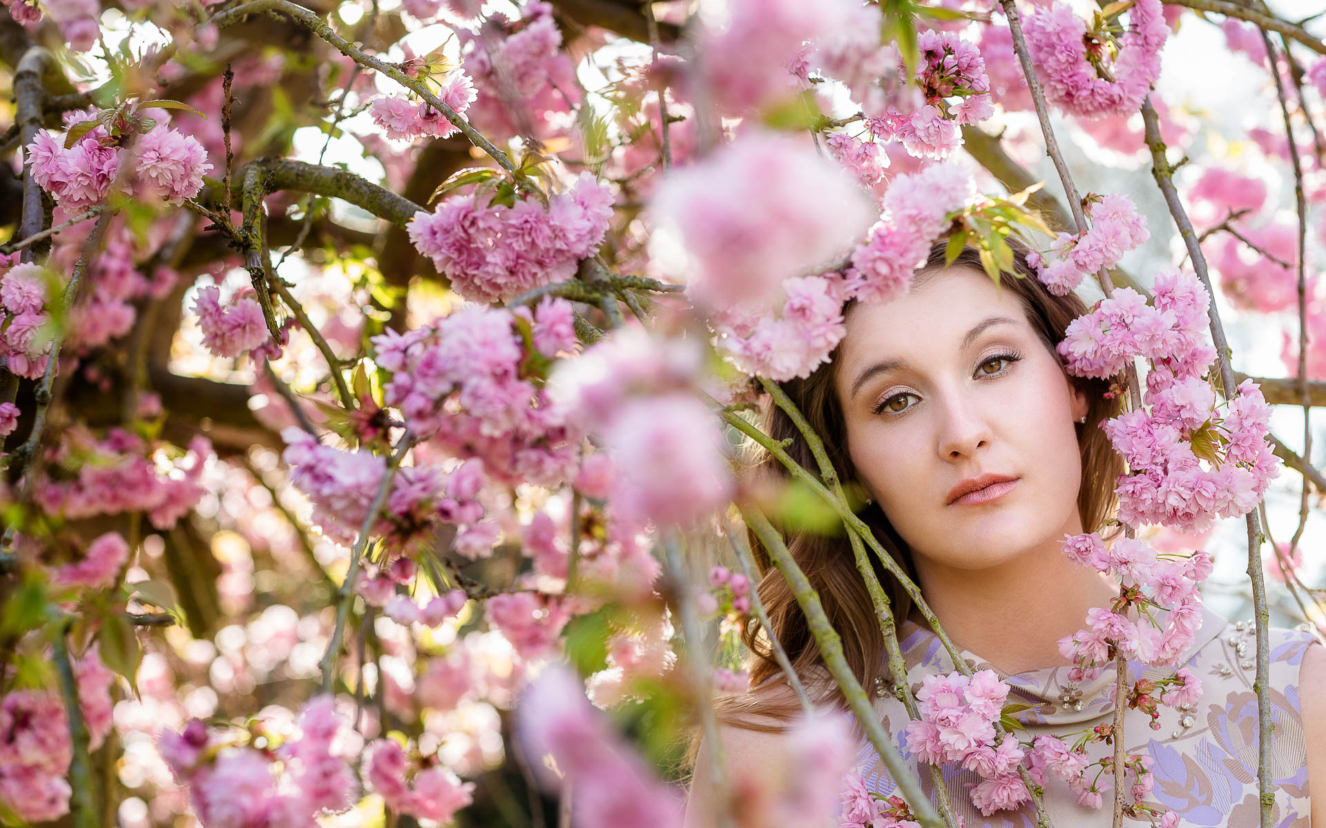 Women portrait amongst flowers