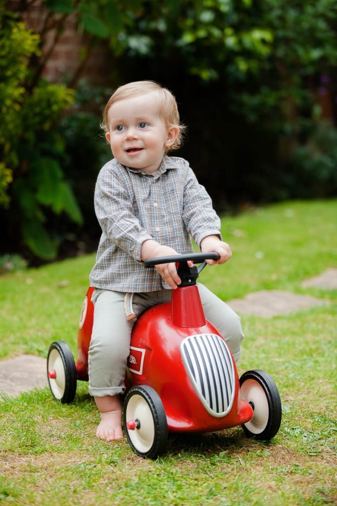 Toddler on ride on toy