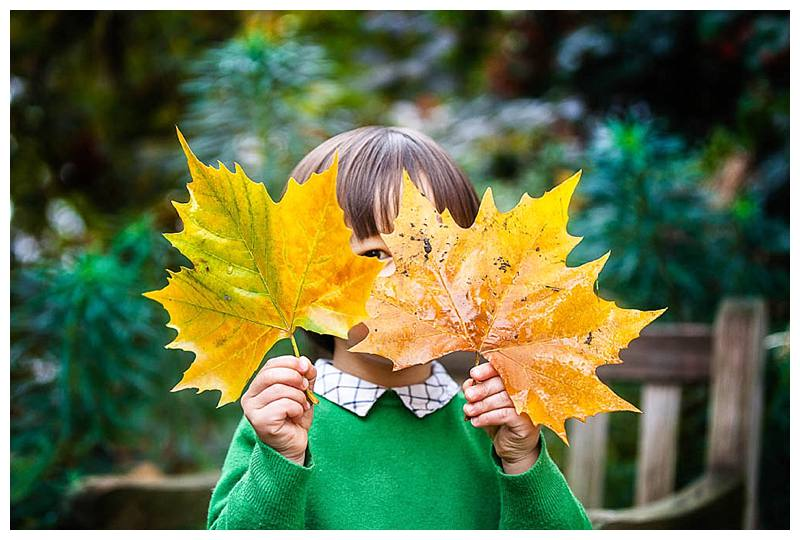 Little boy with leaves over face