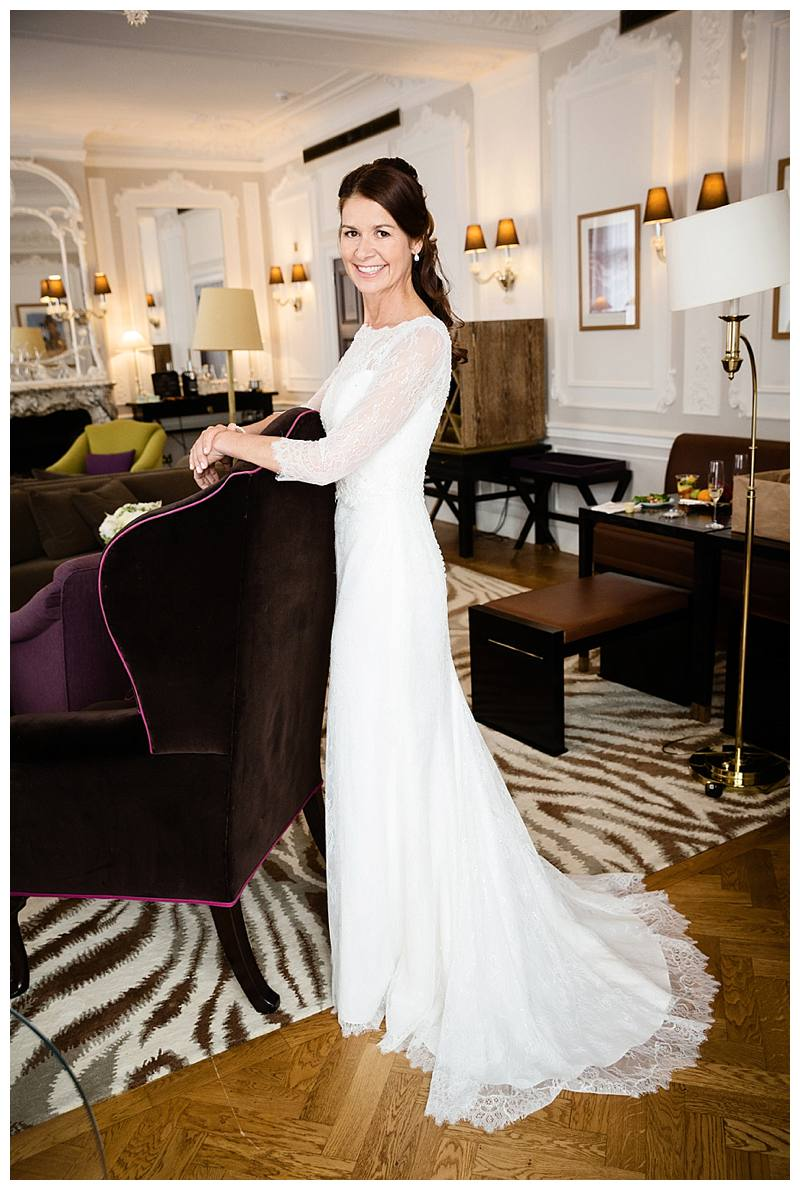 Family photography London bride in suite