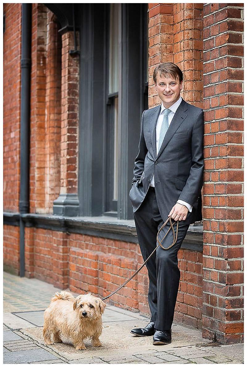 Portrait Photographer London Businessman with dog
