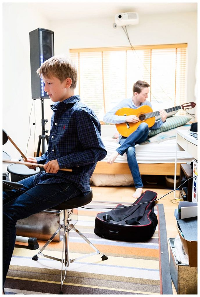 boys playing instruments