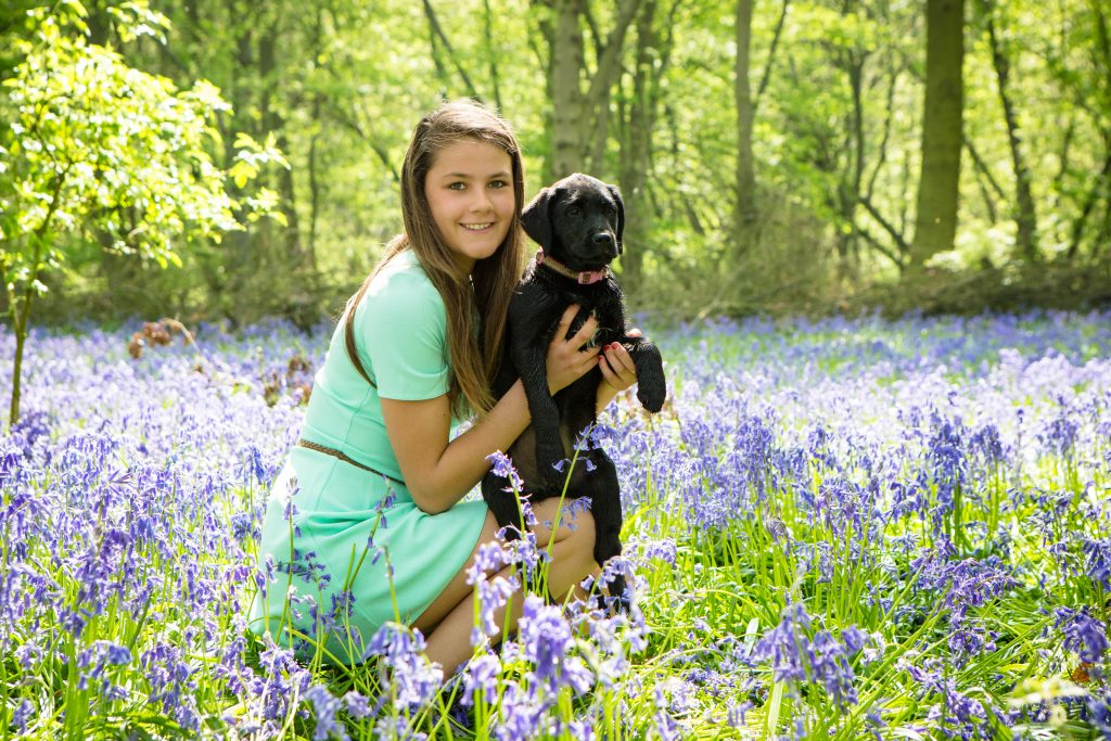 Girl in bluebell woods with puppy