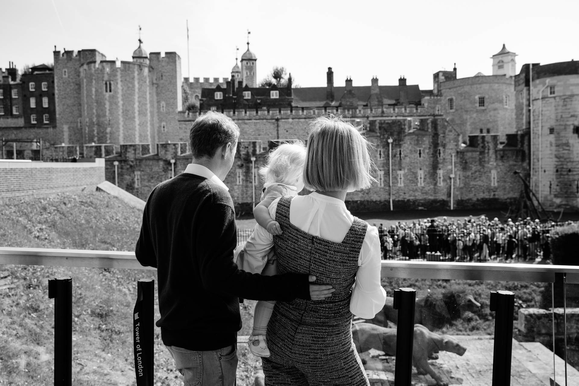 family in front of Tower of London