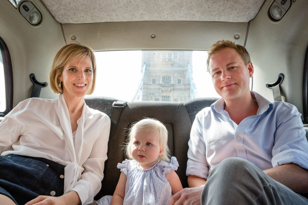 family in London black cab