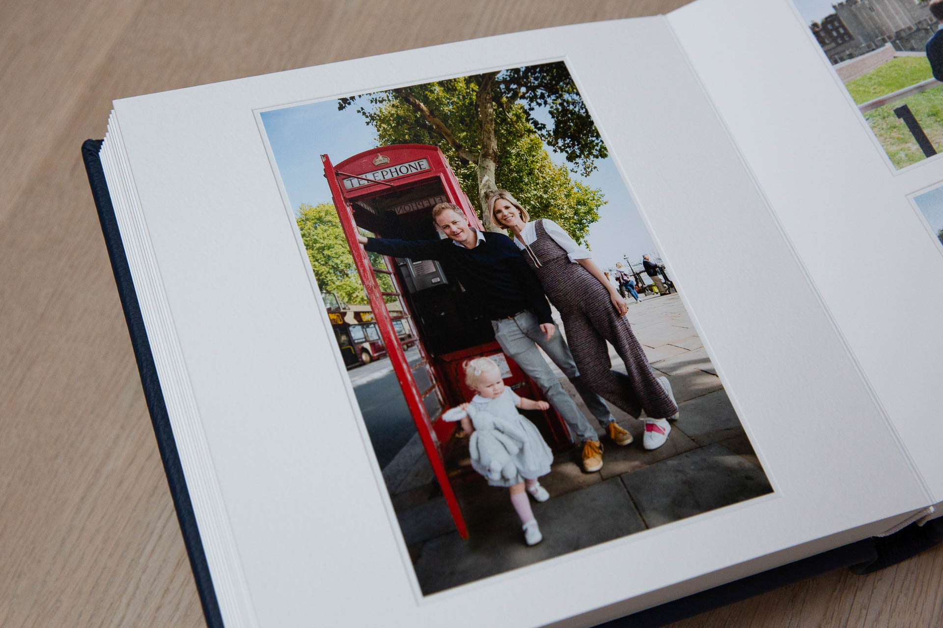 handmade photo album picture of child and phone booth