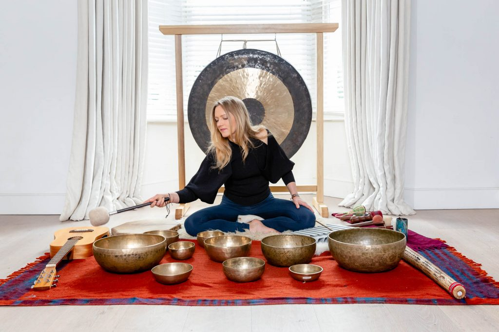 personal brand portrait with drums and gongs