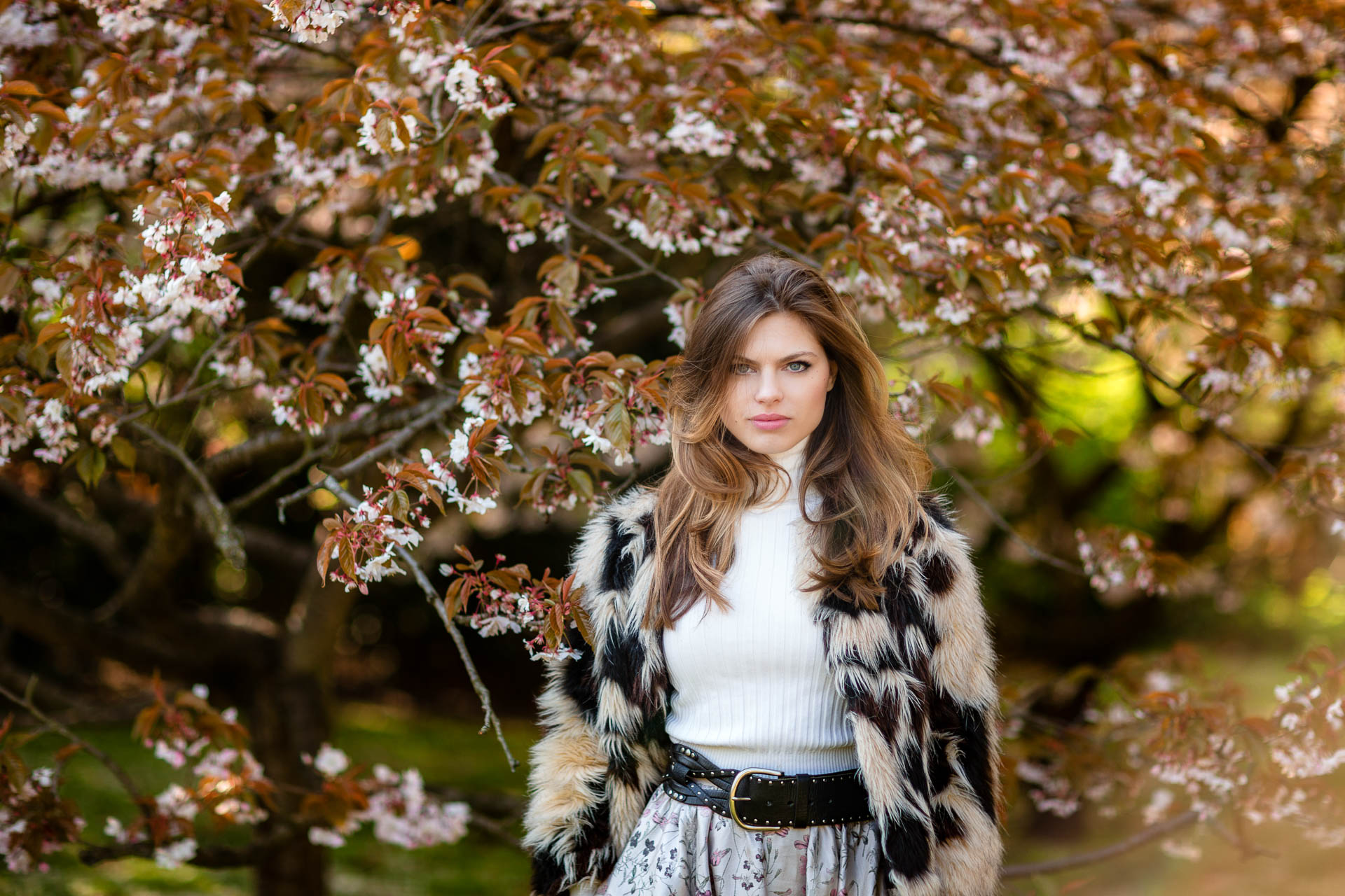 personal brand portrait in park with fur coat