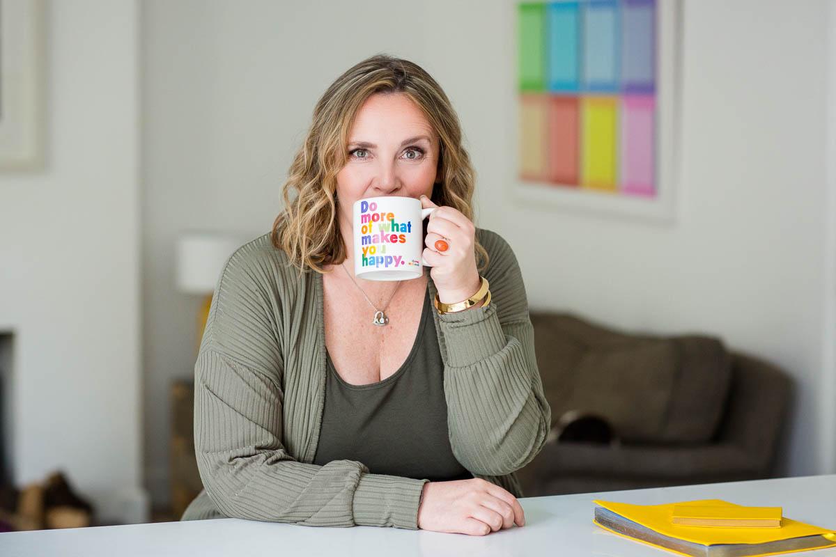 personal branding woman drinking coffee